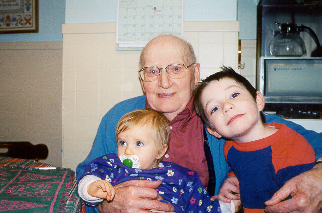 [Anna and Joshua with Great Grandpa Karg - December 2000]