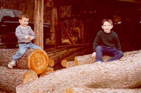 [Jacob and Joshua sit on Grandpa Karg's logs - Easter 2000]