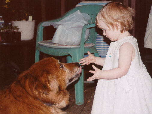 [Our Dog Megan, kissing Anna - Spring 2001]